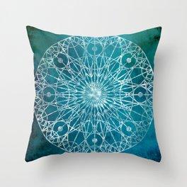 Rosette Window - Teal Throw Pillow