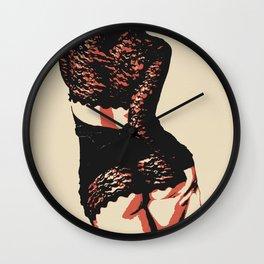 Seducing Girl in lingerie - erotic nude pop art, sensual redhead posing, tempting pose Wall Clock