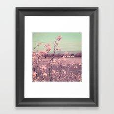 Sweet Spring (Teal Sky, Soft Pink Wildflowers, Rural Cottage) Framed Art Print
