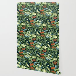 Buteerfly garden in navy blue Wallpaper