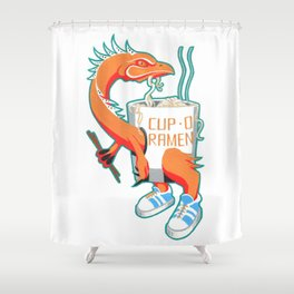 """""""Cup O Ramen"""" Kaiju Monster Shower Curtain"""