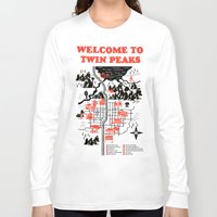 map Long Sleeve T-shirts featuring Twin Peaks Map by Robert Farkas