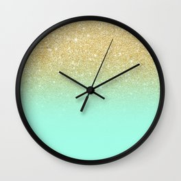 Modern gold ombre mint green block Wall Clock