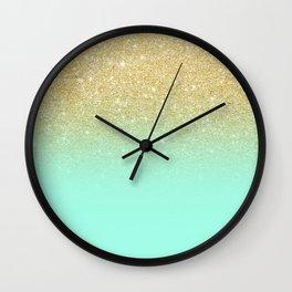 Modern gold ombre mint green block Wall Clock