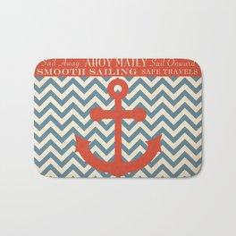 Sail Away Nautical Anchor Chevron Print Bath Mat