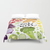 fitzgerald Duvet Covers featuring Eat Well by Emma Fitzgerald