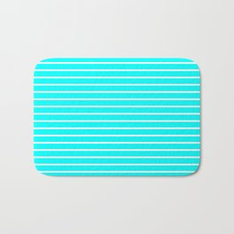 Horizontal Lines (White/Aqua Cyan) Bath Mat