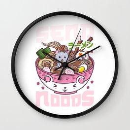 Send Noods - Japanese Neko Ramen Cat T-Shirt Wall Clock