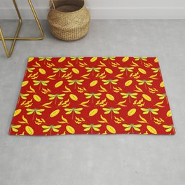 Pretty beautiful golden dragonflies, leaves elegant stylish dark red nature spring pattern. Rug