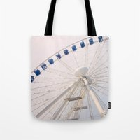 ferris wheel Tote Bags featuring Ferris Wheel by Pati Designs