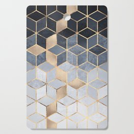 Soft Blue Gradient Cubes Cutting Board