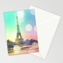 Paris. : Pastel Rainbow Bokeh Stationery Cards