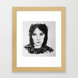 Rock Musician Joan Jett Portrait Framed Art Print