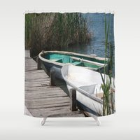 rowing Shower Curtains featuring Reeds, Rowing Boats and Old Jetty at Dalyan by taiche
