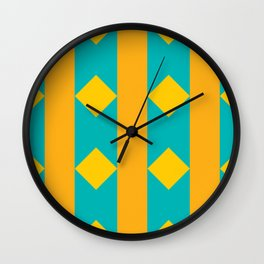 Pattern orange blue Wall Clock