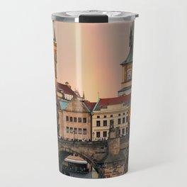 Sunset Rainbow over the Charles Bridge in Prague Travel Mug