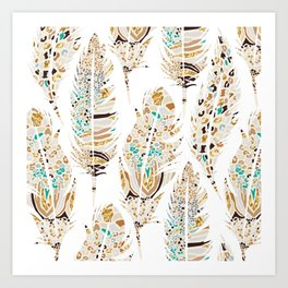 Boho Festival Feather Art Print