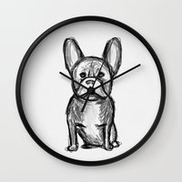 frenchie Wall Clocks featuring Frenchie by Quirky Things