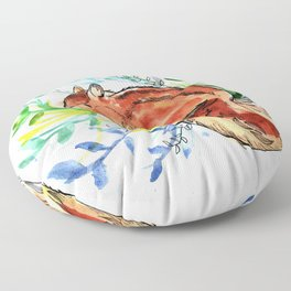 Cute Korea squirrel in sping flowers Floor Pillow