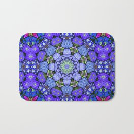 Garden mosaic kaleidoscope mandala - cool blues 2 Bath Mat