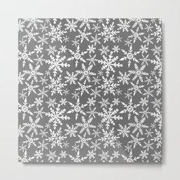 Snowflakes - grey Metal Print