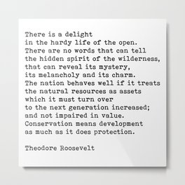 The Great Outdoors, Theodore Roosevelt Quote Metal Print