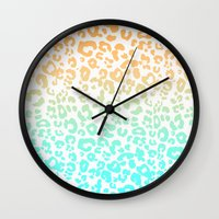 leopard Wall Clocks featuring LeopARD by Monika Strigel