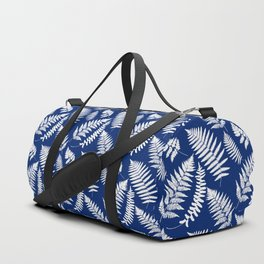 Woodland Fern Pattern, Cobalt Blue and White Duffle Bag