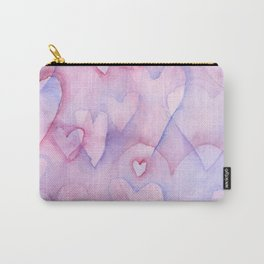 Pink Hearts Pattern Carry-All Pouch