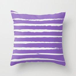 Irregular Hand Painted Stripes Purple Throw Pillow