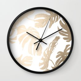 Simply Tropical Palm Leaves in White Gold Sands Wall Clock