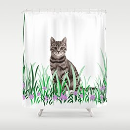 Tiger Cat green Grass with flower Shower Curtain
