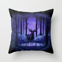 elf Throw Pillows featuring Elf Forest by Sachpica