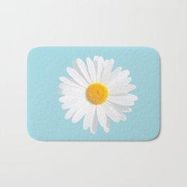 fresh white daisy on blue Bath Mat