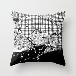 Barcelona city map black and white Throw Pillow