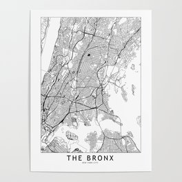 The Bronx White Map Poster