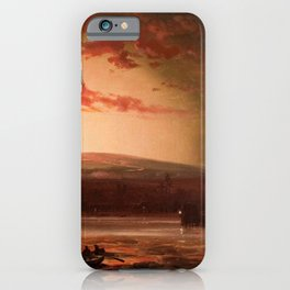 Eruption of Mauna Loa, Hilo Bay, Hawaii landscape painting  by Charles Furneaux iPhone Case