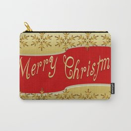 Red Merry Christmas Banner On Gold With Snowflakes  Carry-All Pouch
