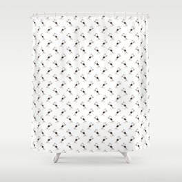 Blackbird Pattern in Black And White Shower Curtain