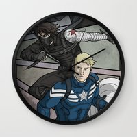 the winter soldier Wall Clocks featuring Winter Soldier by DeanDraws
