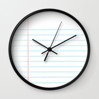 notebook Wall Clocks featuring Notebook Paper Digital Watercolor School Chalk by Corrie Jacobs