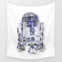 r2d2 Wall Tapestries featuring R2D2 by KitschyPopShop