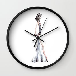 Lady - Watercolors and Ink Wall Clock