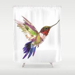 Hummingbird artwork, flying hummingbird Shower Curtain