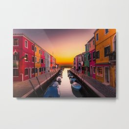 Venice Italy Boats Sunset Photography Metal Print