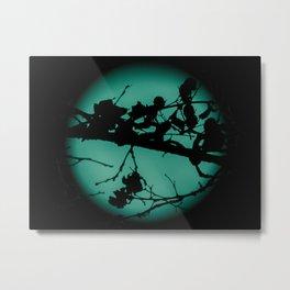 Teal Marbled Moon Metal Print