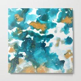 Aqua Teal Gold Abstract Painting #1 #ink #decor #art #society6 Metal Print