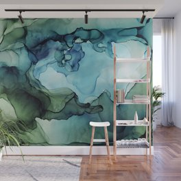 Land and Water Abstract Ink Painting Blues and Greens Wall Mural
