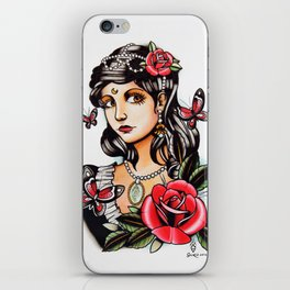 Girl with Butterflies - tattoo iPhone Skin