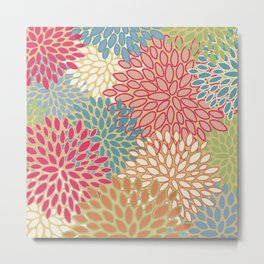 Floral Prints, Pink, Teal, Orange, Green, Modern Print Art Metal Print